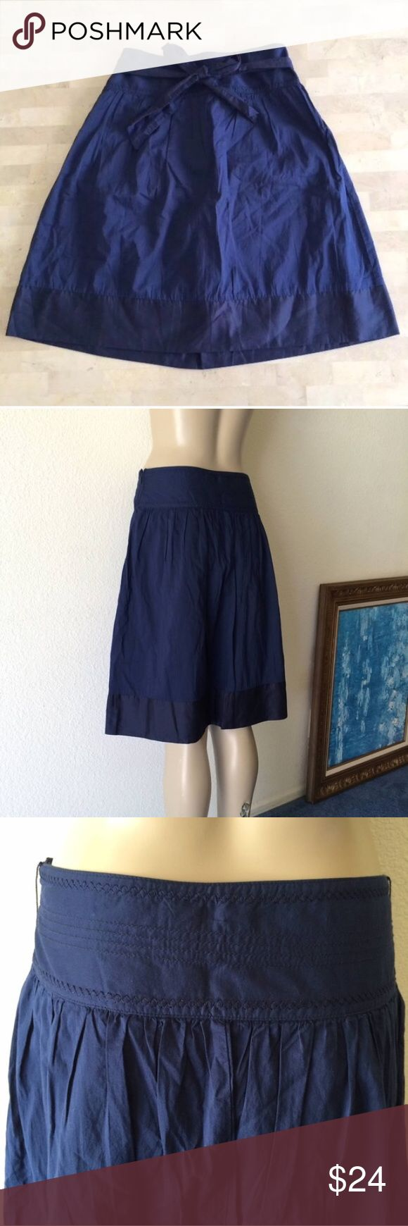 🚫SOLD🚫 Dark Navy Blue A-line Knee Length Skirt Knee length skirt w/ sweet boho style. Navy blue linen-feeling sort of fabric. Lined. Bottom trim is a little darker w/ a subtle sheen to material. A little stiffer but still has great movement & very comfortable! Waistband has great embroidered accents & ruching around waistband seam gives skirt even more of a flowy look. Wear w/ or w/out tie. Worn twice, in LIKE-NEW CONDITION!! Marked size 0 but runs big, best fits a size 2, I think. **Top…