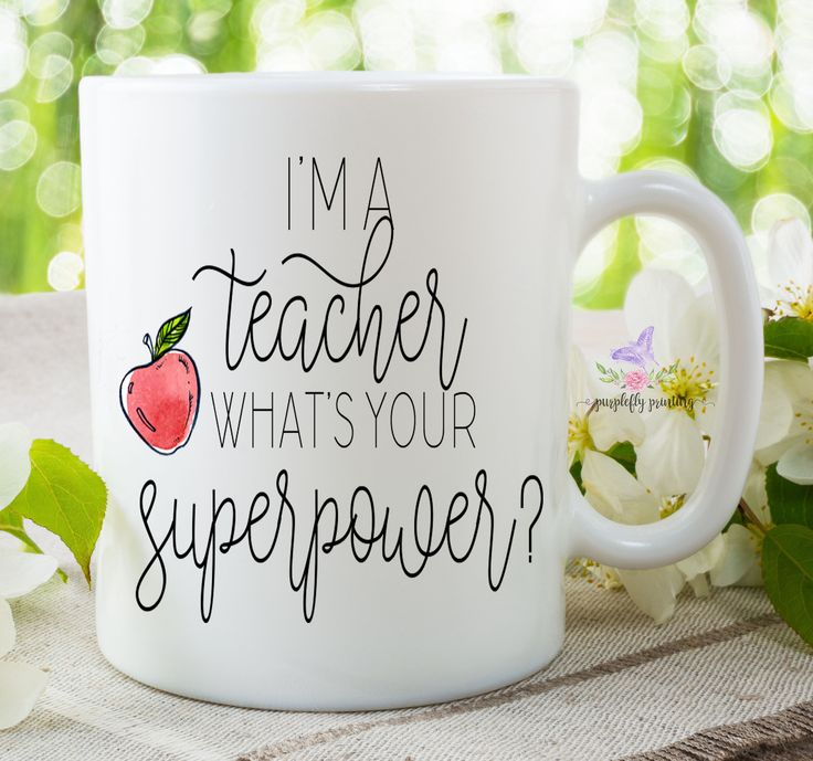 Teacher Mug, Teacher Superpower, Teacher Appreciation Gift, Teacher Gifts, Best Teacher, Teacher Coffee Mug, Thank you Gift, Professor Mug by PurpleflyPrinting on Etsy