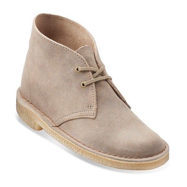 Clarks Originals Desert Boot ($120) ❤ liked on Polyvore featuring shoes, boots, ankle booties, taupe distressed suede, suede lace up booties, lace up boots, suede desert boots, suede booties and ankle boots