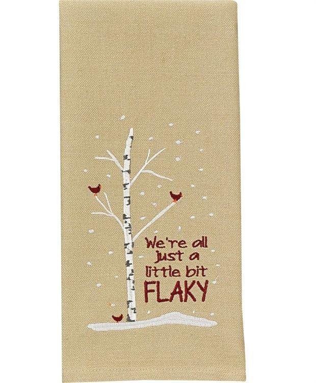 We're All Just A Little Bit Flaky Christmas Dishtowel