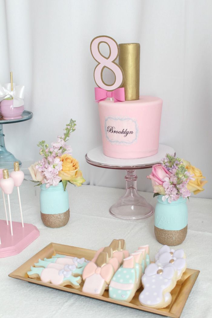 Cake table from a Glam Spa Retreat Birthday Party on Kara's Party Ideas | KarasPartyIdeas.com (18)