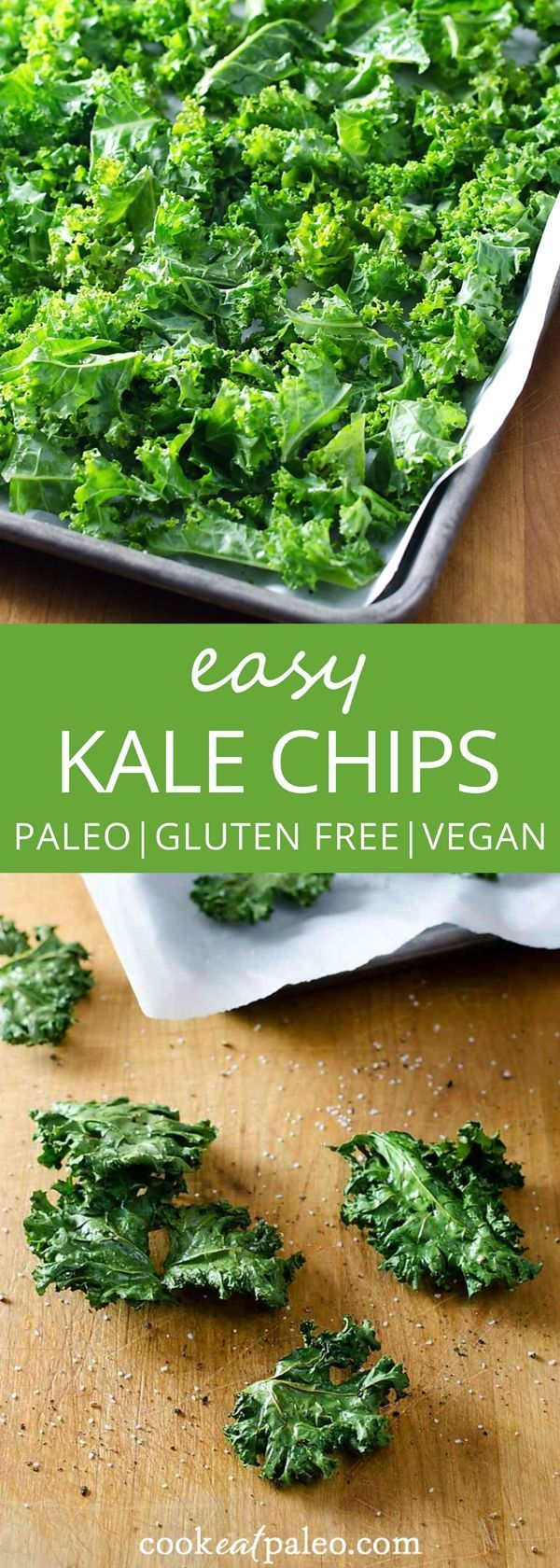 How to make kale chips---a quick and easy healthy snack to satisfy your crunchy craving. | vegan, gluten-free, paleo recipe | http://cookeatpaleo.com/how-to-make-kale-chips/