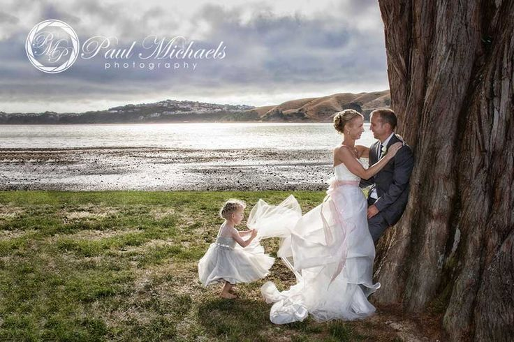 Bride and groom at Pauatahanui inlet. New Zealand #wedding #photography. PaulMichaels of Wellington www.paulmichaels.co.nz