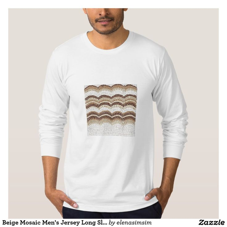 Beige Mosaic Men's Jersey Long Sleeve T-Shirt