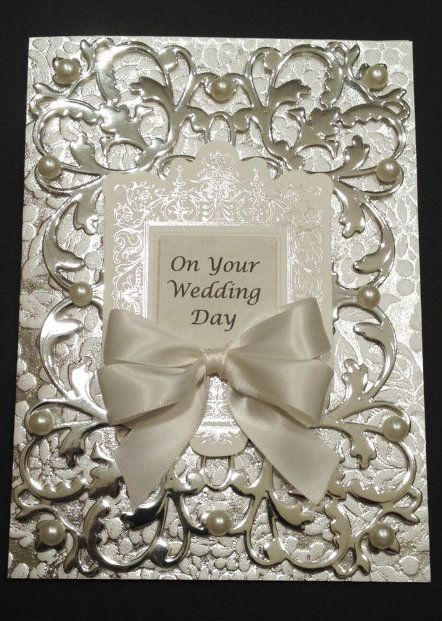 Fancy Ivory and Silver Foil Wedding Card with Anna Griffin Papers