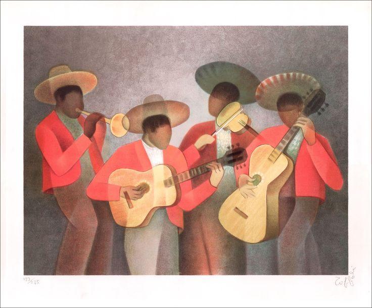 Louis TOFFOLI : Les Mariachis (Mélodie Mexicaine) , Lithographie Originale signée, 50x66cm : Galerie 125