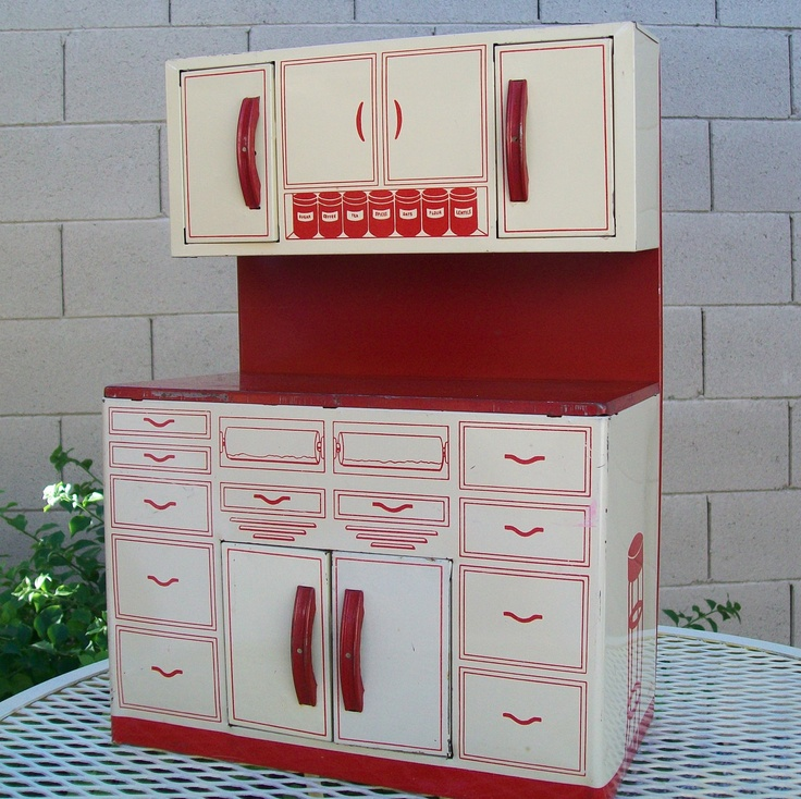 Vintage wolverine metal kitchen play toy red cupboards for 1950 kitchen cabinets for sale