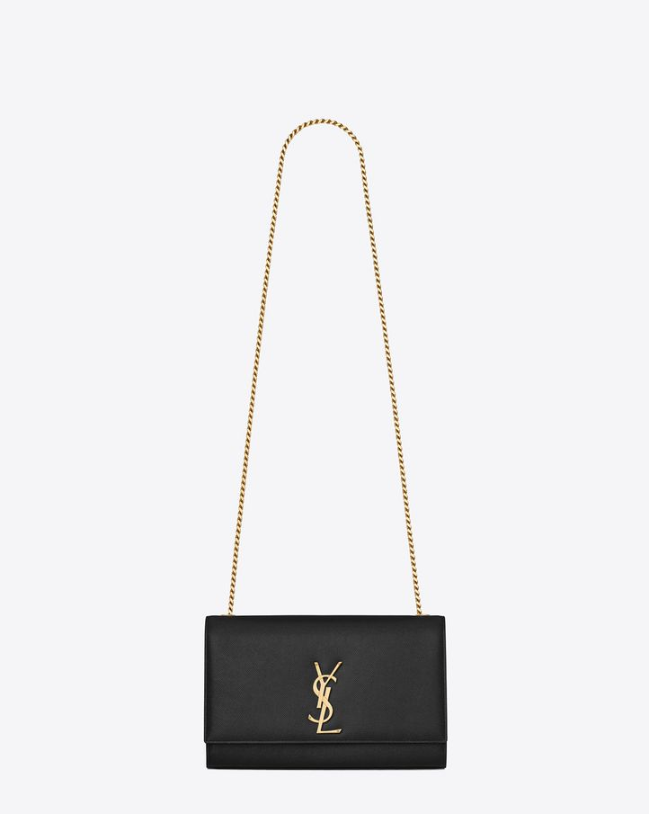 saintlaurent, Satchel Medium Monogramme Saint Laurent en cuir texturé grain-de-poudre noir