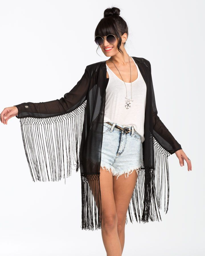 Trendy and fun black chiffon fringe kimono. DETAILS: - 100% Polyester - Leather on shoulder - Fringe detail on arms
