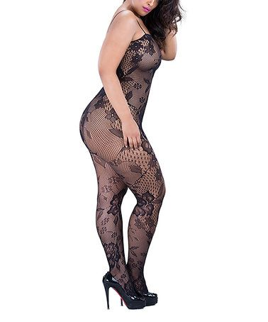 Love this Black Floral Fishnet Body Stocking - Plus on #zulily! #zulilyfinds