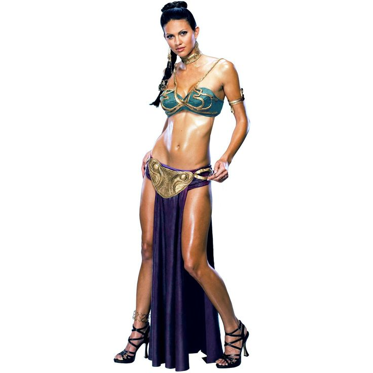Star Wars Princess Leia Slave Sexy Adult Costume Be a little bit bold in this flirty Princess Leia Slave Adult Costume! Includes bra style top, briefs with skirt, belt, choker, arm band, hair clips, and headpiece. Earrings and shoes not included. This is an officially licensed Star Wars ™ costume.