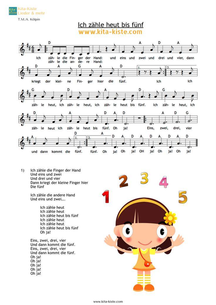 """""""Ich zähle heut bis fünf"""" - Krippenlied zum Zählen der Finger & Zehen - im 3/4-Takta - mp3 / Noten / Liedtext & KARAOKE auf: www.kita-kiste.com"""
