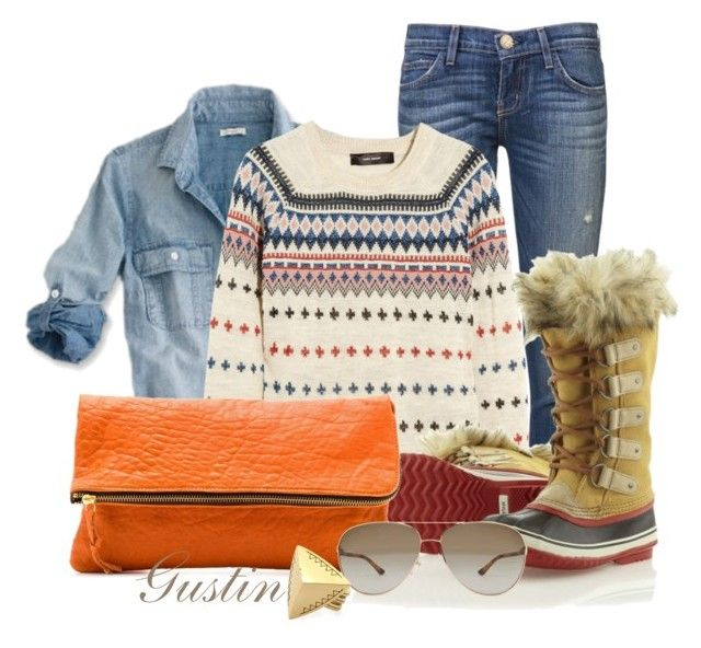 """""""cozy winter afternoon"""" by stacy-gustin ❤ liked on Polyvore featuring Current/Elliott, J.Crew, Isabel Marant, SOREL, Gorjana, STELLA McCARTNEY, House of Harlow 1960, skinny jeans, lace-up boots and denim shirts"""