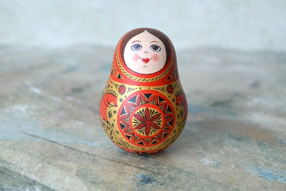 Small Hand Painted Matryoshka Roly Poly Doll