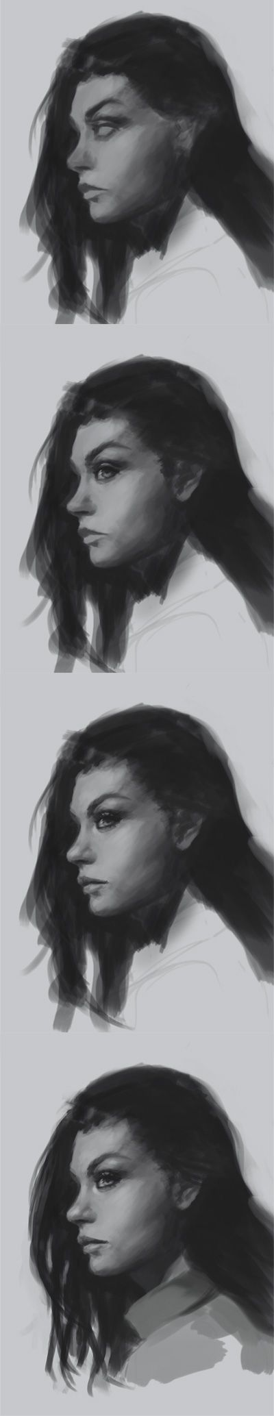 How to draw face side view | drawing and digital painting tutorials online