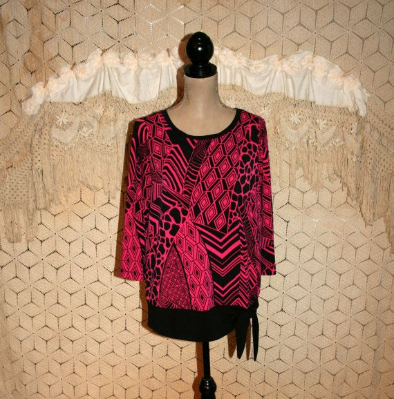 Long Oversized Top Hot Pink  Black Abstract Mod by MagpieandOtis