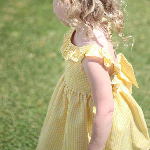 The Kate Dress  toddler girls dress  yellow by LottieClothing