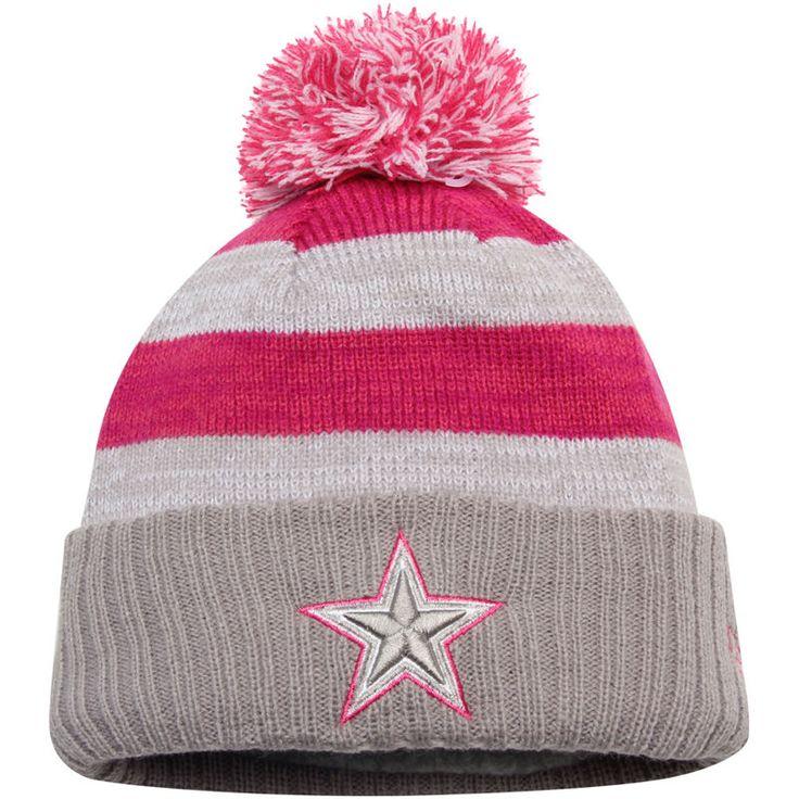 Dallas Cowboys New Era Girls Youth Breast Cancer Awareness Sideline WinterEra Pom Cuffed Knit Hat - Heather Gray