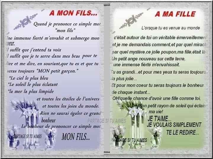 A MON FILS A MA FILLE | Lettre amour, Poeme anniversaire ...