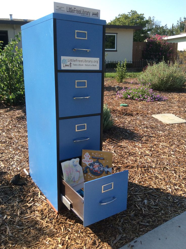 Got an old filing cabinet you don't know what to do with? Ann Yager of Chico, California turned hers into a cute Little Free Library! Get more ideas at littlefreelibrary.org/ourblog