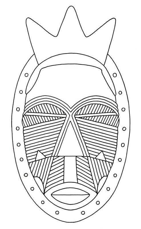 african tribal mask coloring pages - photo#11