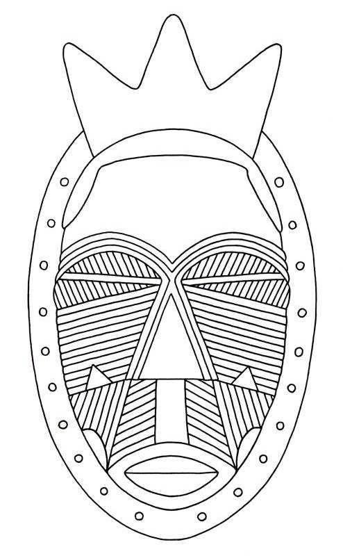 african mask, geometric scarification pattern