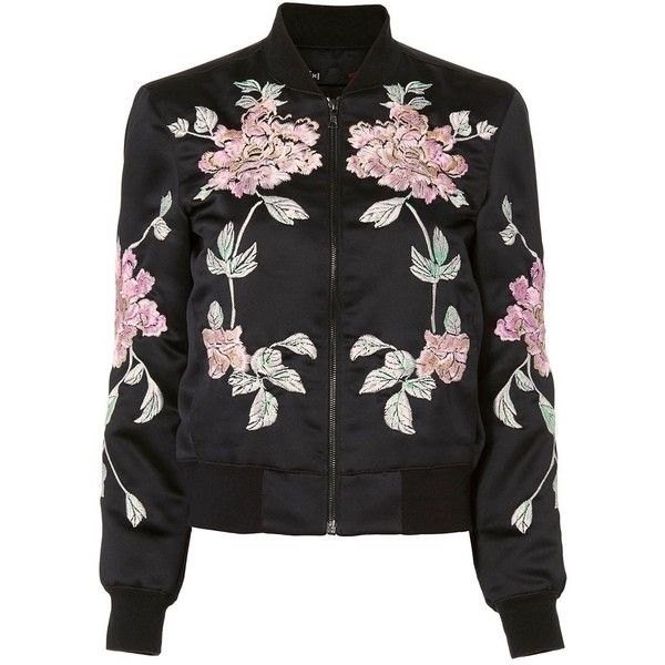 3x1 Women's Floral Bomber (2.130 BRL) ❤ liked on Polyvore featuring outerwear, jackets, coats, tops, black, lined bomber jacket, fleece-lined jackets, cotton bomber jacket, bomber style jacket and zip front jacket