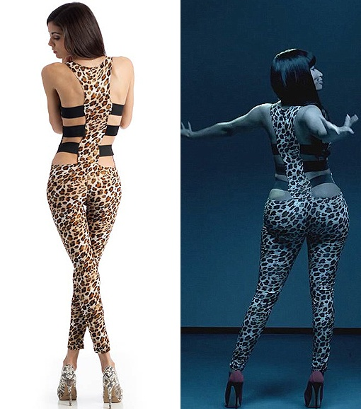 """Nicki Minaj, leopard print jumpsuit, """"Beez in the Trap"""". Need this just to piss off my mom :')"""