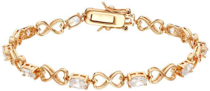 Brilliant Couture Cubic Zirconia Heart Infinity Bracelet