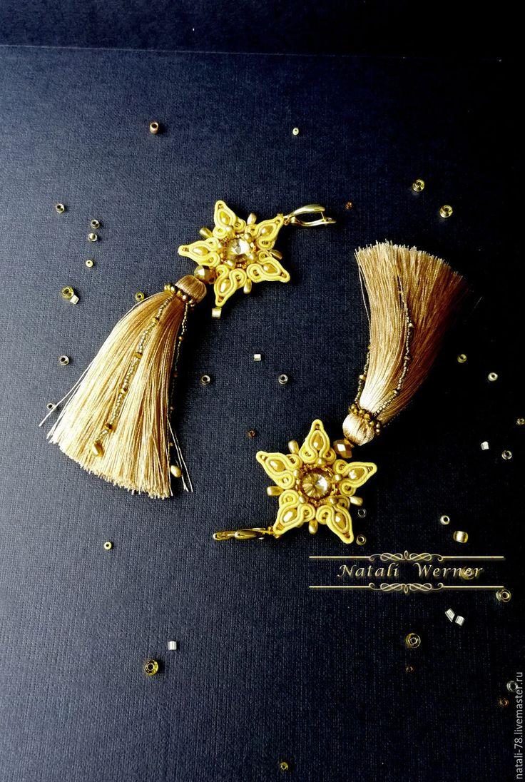 """Купить Сутажные серьги """"Кометы"""" (сутаж, звезды,желтый) - золотой, Комета, звезды, кисти"""