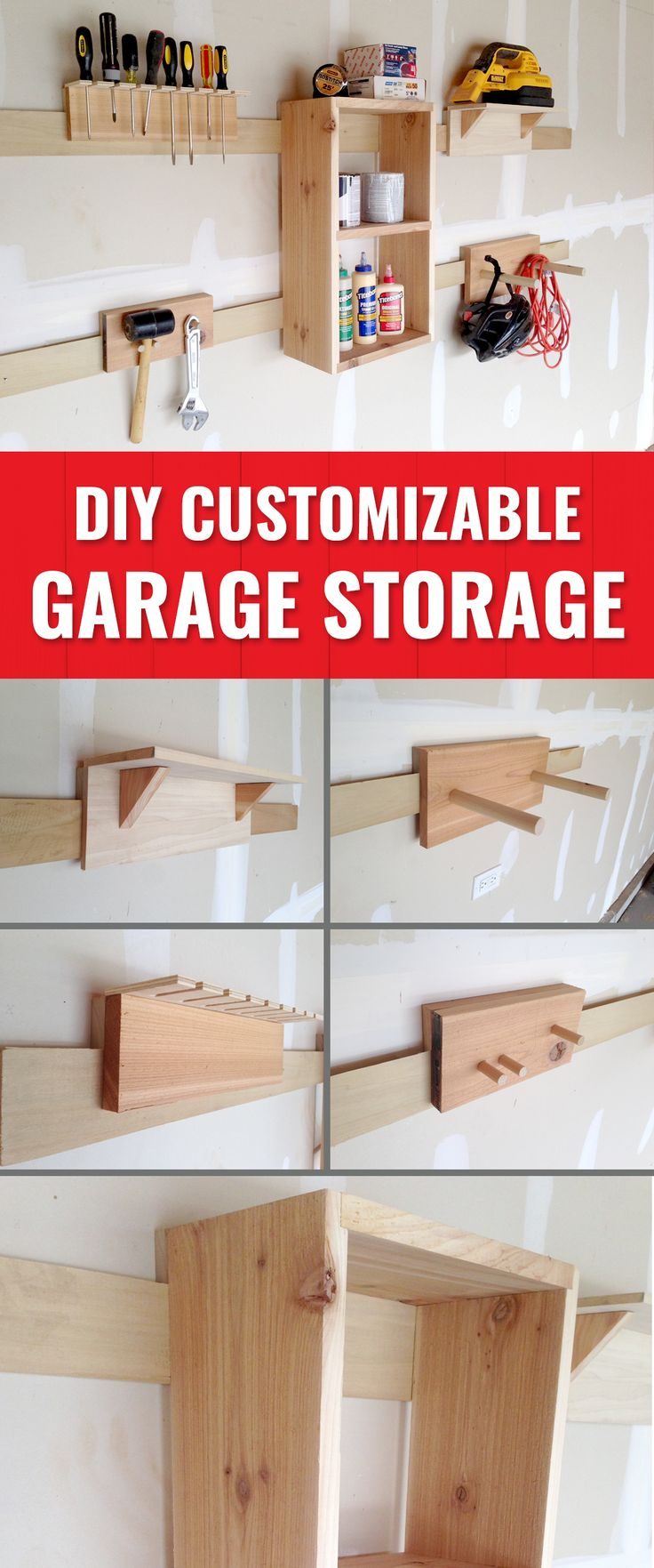 Keep your garage organized with these DIY, customizable storage solutions.