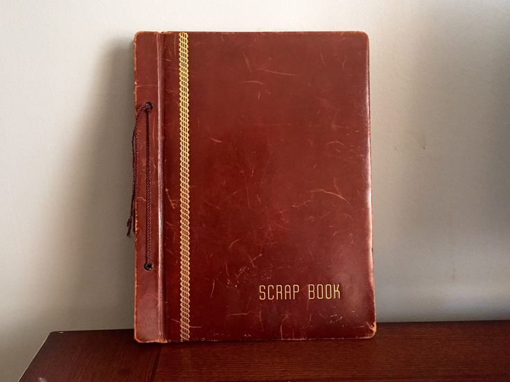 Vintage Leather Scrapbook | Brown Leather Photo Album | Large Bound Scrap Book | Samuel Ward Manufacturing Company by Postcardigans on Etsy