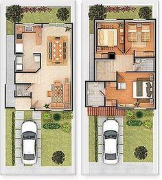 planos de casas 80m2 2 plantas