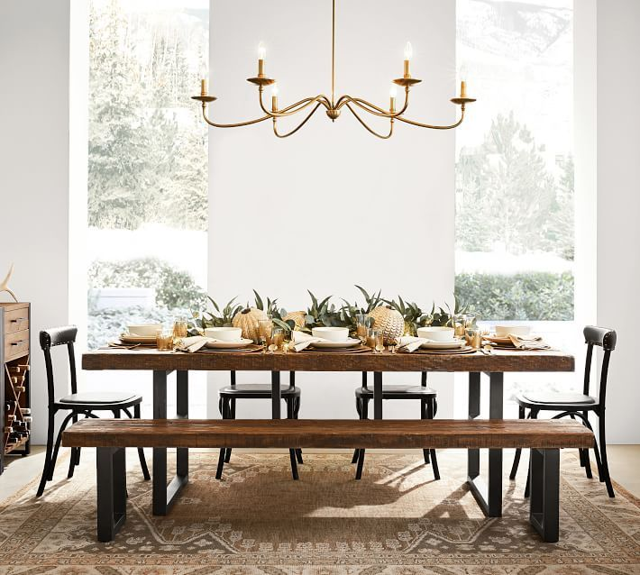 Lucca Chandelier Pottery Barn Reclaimed Wood Dining
