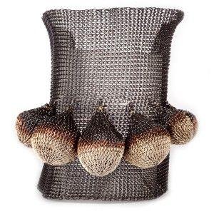 Pulsera de red de cobre plateado con bolas colgantes www.sanci.es
