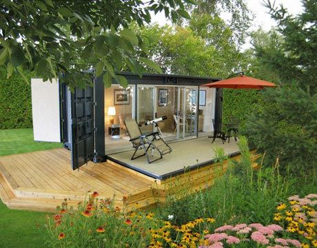 Another container home designed for on- or off-grid living is the Ecopod. Made from a shipping container, an electric winch is used to raise and lower the heavy deck door (power is supplied by a solar panel). The floor is made from recycled car tires, and the walls have birch paneling. The glass is double paned to slow heat transfer.