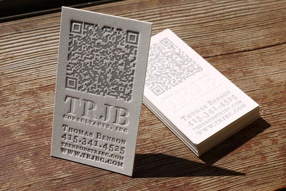 Love the combo of old (letterpress) and new (QR code) on these business cards.