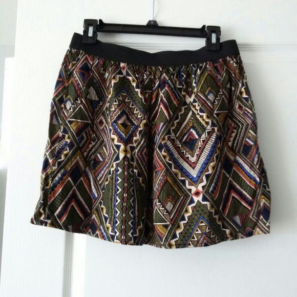 Aztec print skirt Elastic waistband skirt, hits just above the knee   Skirts