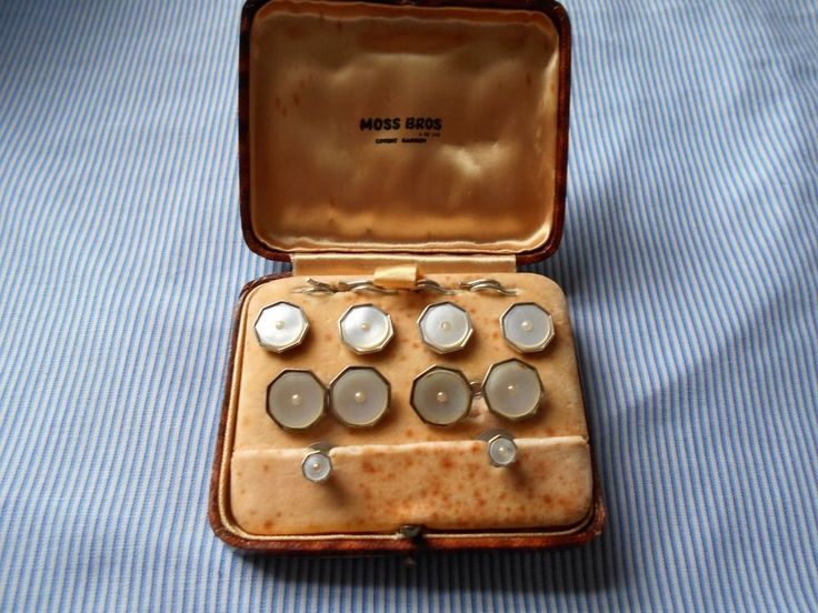 marked silver vintage boxed moss bros dress set double cufflinks buttons studs