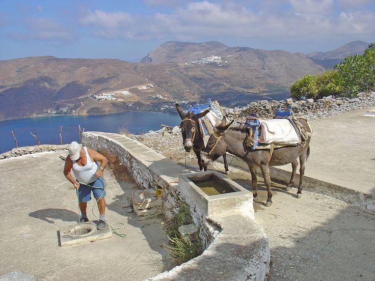 Photos Amorgos island Aegiali bay Monastery of Hozoviotissa Levrossos beach Chora Katapola Tholaria Langada Potamos Agia Anna Agios Pavlos Agia Trianda