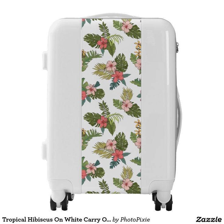 Tropical Hibiscus On White Carry On Luggage