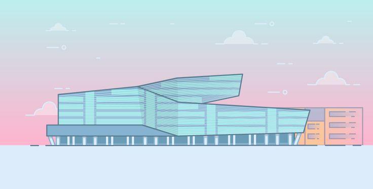 T-Center in Vienna - Thin line flat illustration