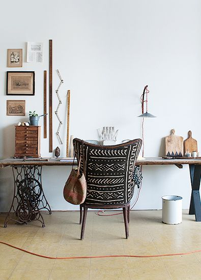 This is Happening: Out of Africa // mud cloth chair.  Pin repinned by Zimbabwe Artisan Alliance.