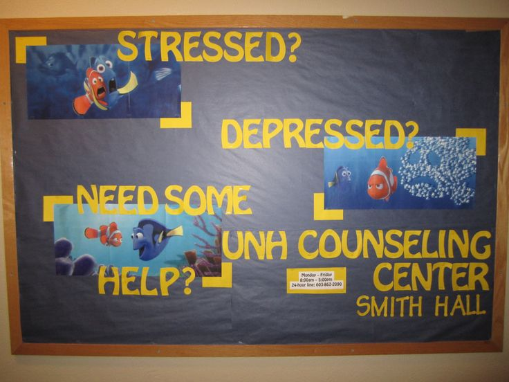 Counseling Center ResLife board using Finding Nemo!