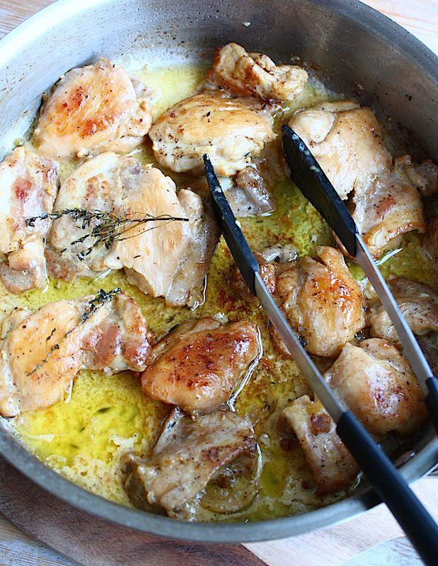 Kip met citroen-botersaus, spinazie en ovenaardappeltjes - Francesca Kookt