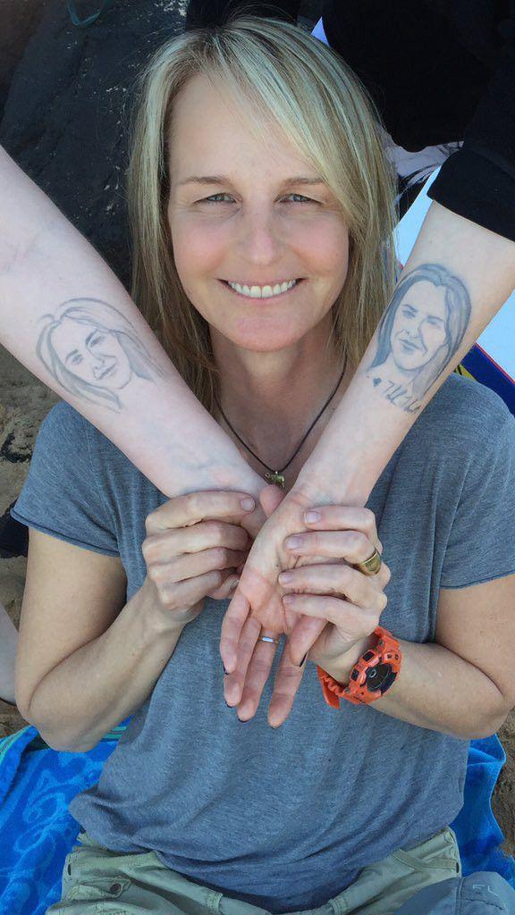 #HelenHunt 's Daughter Gets #Henna #Tattoo of Helen Hunt's Face!