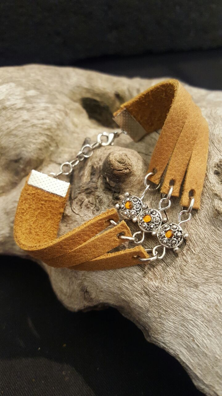 L111 R80.00  tan genuine leather bracelet strap cut with 3 strips and and charm with tan bling whale clasp and extension chain fits 15-17cm