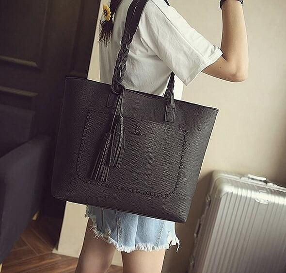 Womens Large Tote Bag with Plaited Handle