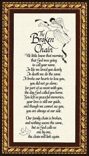Sympathy Poem - Broken Chain - Miscellaneous - Gifts