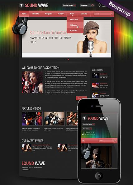 Sound wave radio website template bootstrap mobile responsive web ...